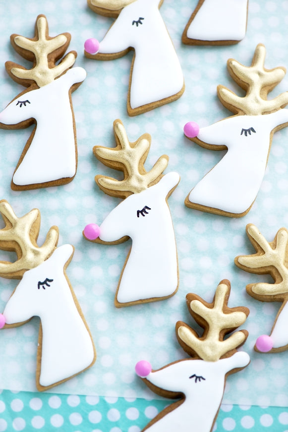 Gilded Reindeer and Santa Cookies