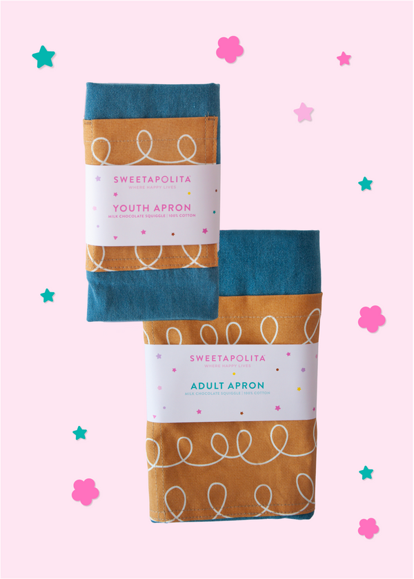 Sweetapolita™ Signature Apron Bundle Pack | Milk Chocolate Squiggle