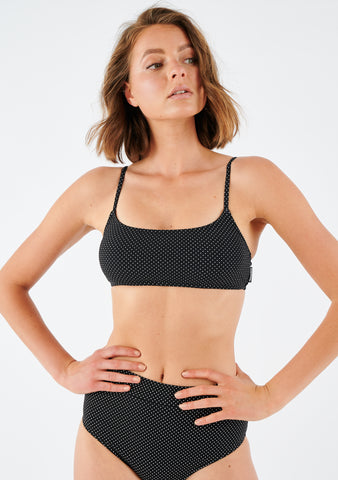 AUSSIE BATTLER SWIM RIB CROP TOP IN BLACK DOT