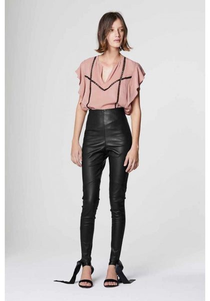 ONCE WAS ALIDA HIGH WAIST STRETCH LEATHER PANT IN BLACK