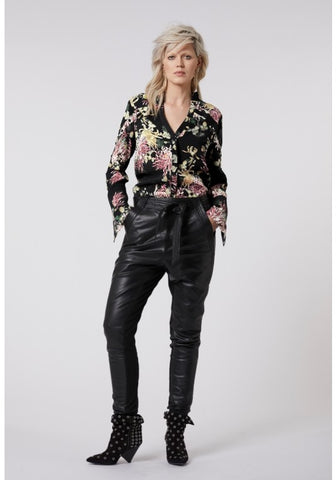 ONCE WAS JANIS STITCH POCKET RELAXED LEATHER PANT WITH WAIST TIE BLACK