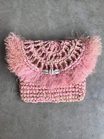 LOCA BELLA THE LABEL RAFFIA CLUTCH IN PINK