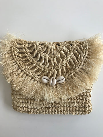 LOCA BELLA THE LABEL RAFFIA CLUTCH IN NATURAL