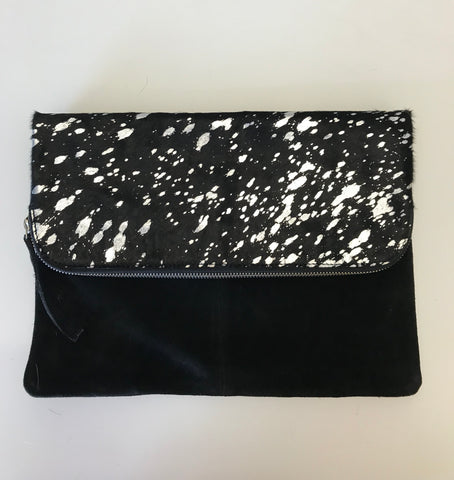 BLACK AND SILVER SUEDE CLUTCH