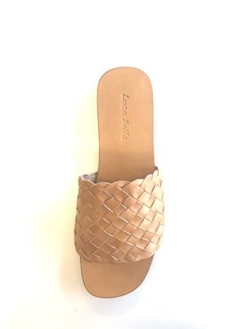 LOCA BELLA THE LABEL AMALFI WOVEN SLIDE TAN