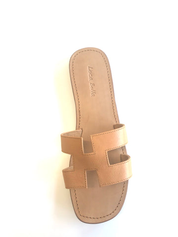 LOCA BELLA THE LABEL SANTORINI SLIDE TAN