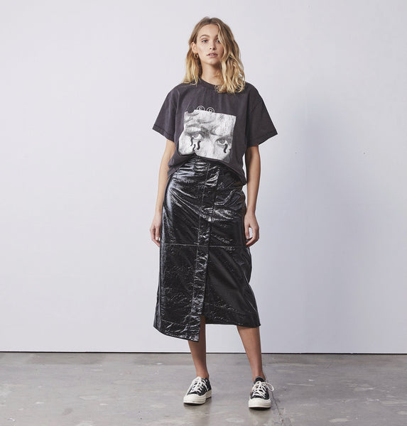 ENA PELLY AVA LONG LINE SKIRT IN BLACK