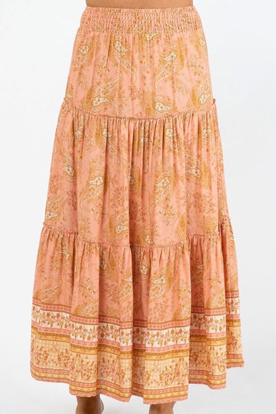 AMELIA TIERED MAXI SKIRT IN PEACH FLORAL PAISLEY