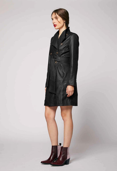 ONCE WAS LIBRERIA WASHED LEATHER COAT IN BLACK