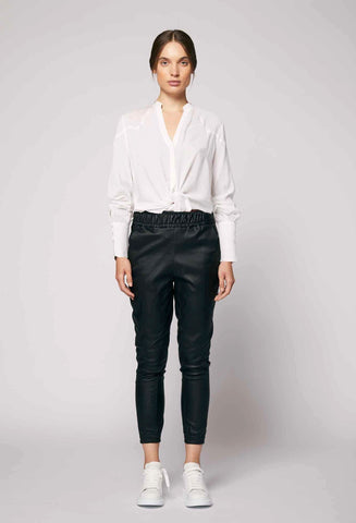 ONCE WAS CASTELLO RELAXED STRETCH LEATHER PANT IN BLACK