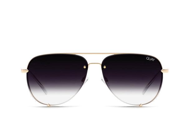 QUAY AUSTRALIA HIGH KEY MINI RIMLESS GOLD / BLACK FADE LENS