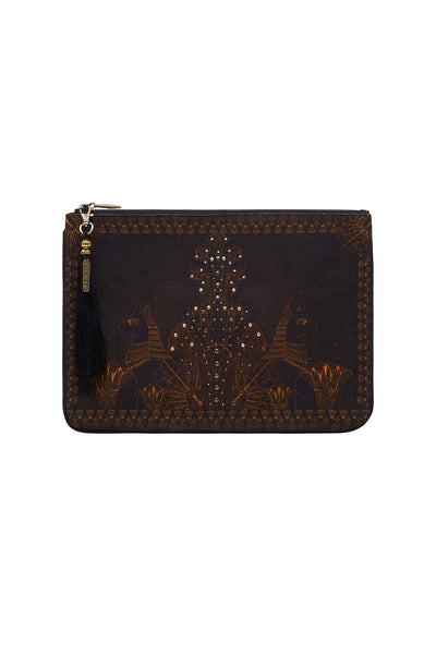 CAMILLA COBRA KING SMALL CANVAS CLUTCH
