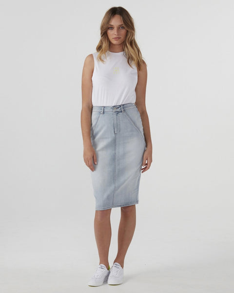 JAC + MOOKI DENIM PENCIL SKIRT VINTAGE WASH