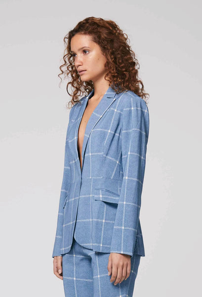 ONCE WAS OREGON STRETCH CREPE BLAZER IN SKY CHECK