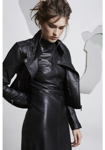 ONCE WAS GAUNTLET LEATHER BIKER JACKET IN BLACK