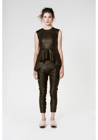 ONCE WAS GAUNTLET RELAXED LEATHER PANT IN GROVE