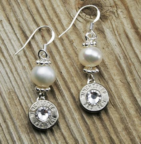 Nickel & Pearl Bullet Earrings