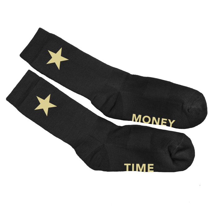 Accessories - MONEY TIME CREW SOCKS (BLACK AND GOLD)