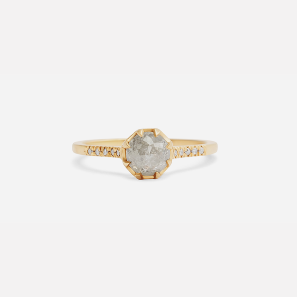 Pave 8 Octagon / Salt + Pepper Diamond + Yellow Gold