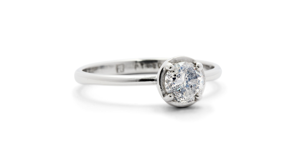 Cati Ring / Platinum and Salt + Pepper Diamond by vendor - ENGAGEMENT - Fine Jewelry Studio in Williamsburg, Brooklyn, NYC