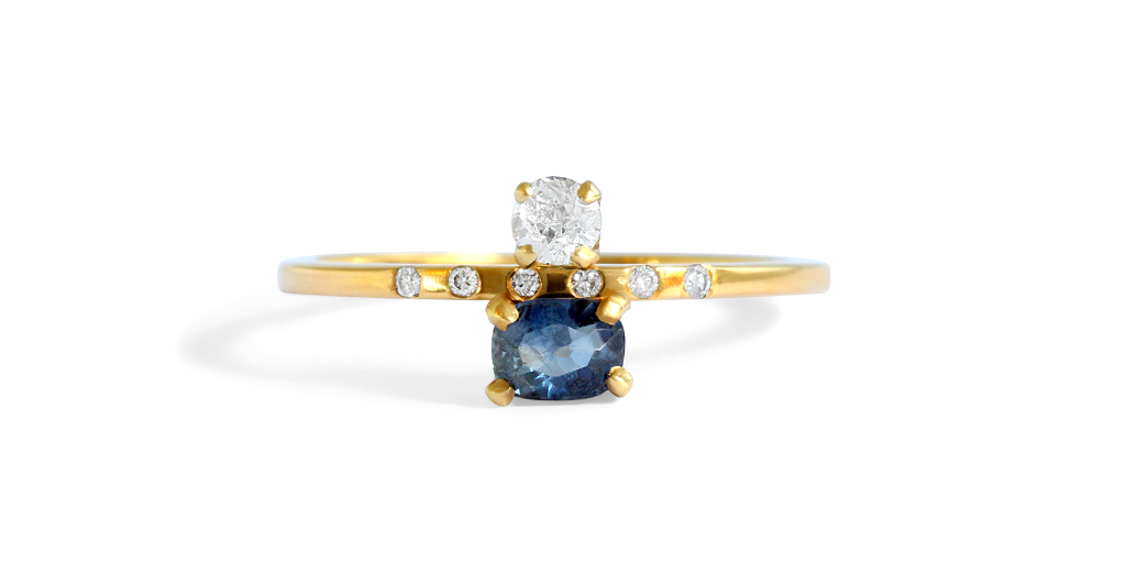 Alaia Ring / Cushion Sapphire by vendor - ENGAGEMENT - Fine Jewelry Studio in Williamsburg, Brooklyn, NYC