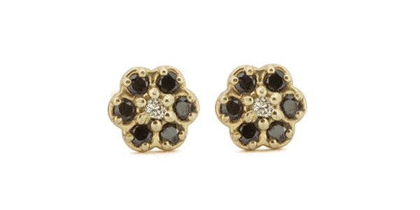 Flower / Black Diamond Earrings by vendor - Earrings - Fine Jewelry Studio in Williamsburg, Brooklyn, NYC