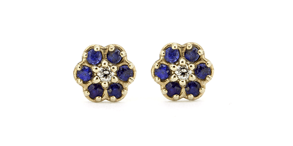 Flower / Blue Sapphire Earrings by vendor - earrings - Fine Jewelry Studio in Williamsburg, Brooklyn, NYC