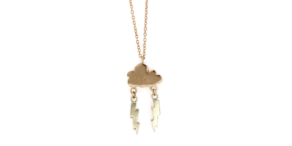 Cloud + Double Bolt Necklace