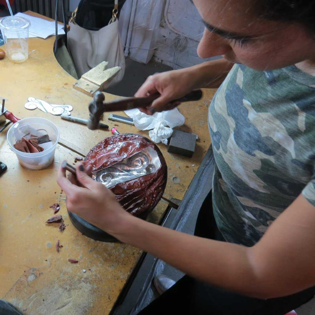 REPOUSSE & CHASING, WORKSHOP, fitzgerald jewelry school, Fitzgerald Jewelry