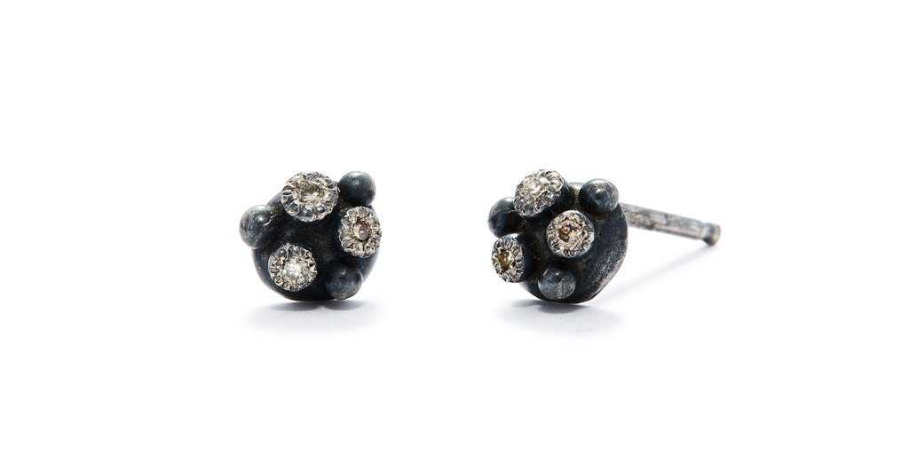 Melee 34A Studs / Silver White + Champagne Diamonds - Fitzgerald Jewelry