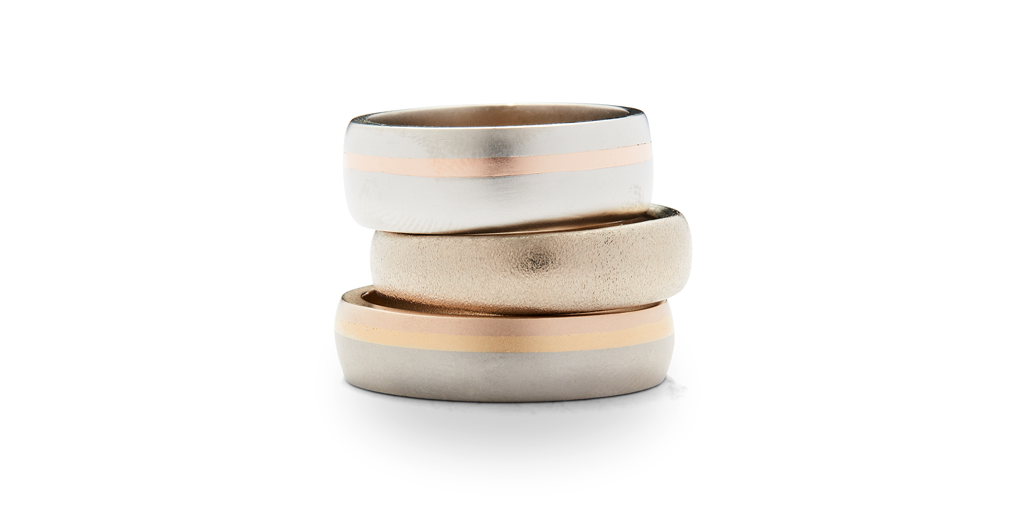 "Wide Dome Band / Three Tone - WEDDING - <p class="" - Fitzgerald Jewelry - Handmade in Williamsburg, Brooklyn, NYC"