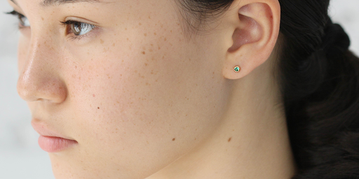Melee Ball Studs / Emerald by vendor - MELEE - Fine Jewelry Studio in Williamsburg, Brooklyn, NYC