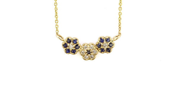 Sapphire + Diamond Flower Necklace / Triple