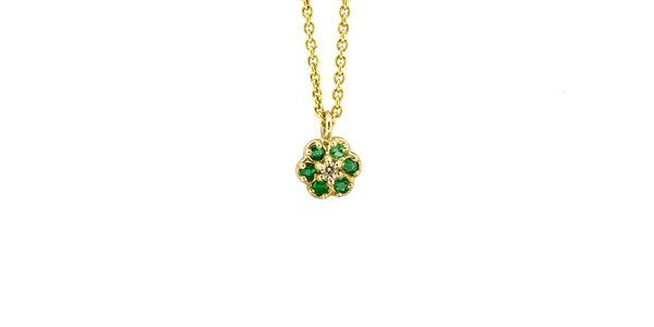 Flower / Emerald Necklace by vendor - pendants - Fine Jewelry Studio in Williamsburg, Brooklyn, NYC