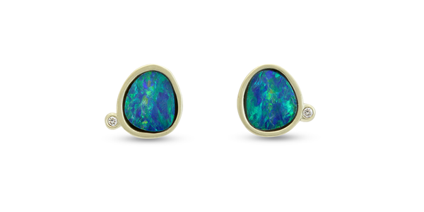 Nugget / Opal with Melee Studs by vendor - earrings - Fine Jewelry Studio in Williamsburg, Brooklyn, NYC