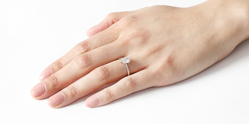 Lara / Oval White Diamond - ENGAGEMENT - <meta char - Fitzgerald Jewelry - Handmade in Williamsburg, Brooklyn, NYC