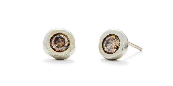 Pebble Studs / Cognac Diamonds by vendor - Pebble - Fine Jewelry Studio in Williamsburg, Brooklyn, NYC