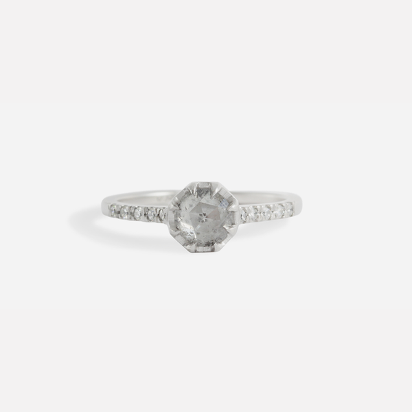 Pave 8 Octagon / Salt + Pepper Diamond + Platinum by vendor - pave - Fine Jewelry Studio in Williamsburg, Brooklyn, NYC