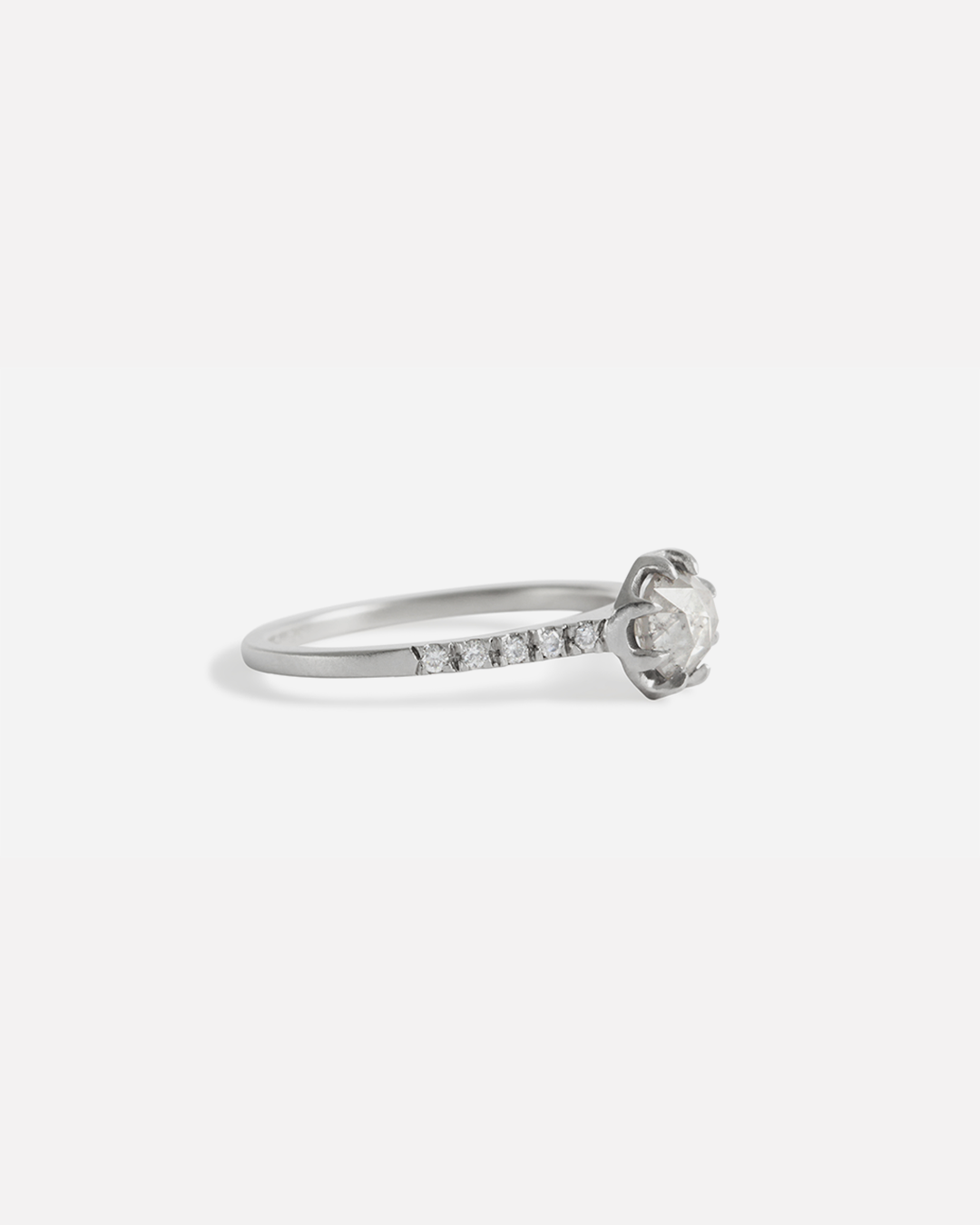 Pave 8 Octagon / Salt + Pepper Diamond + Platinum