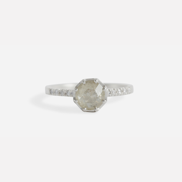 Pave 8 Octagon / Yellowish Diamond + Platinum