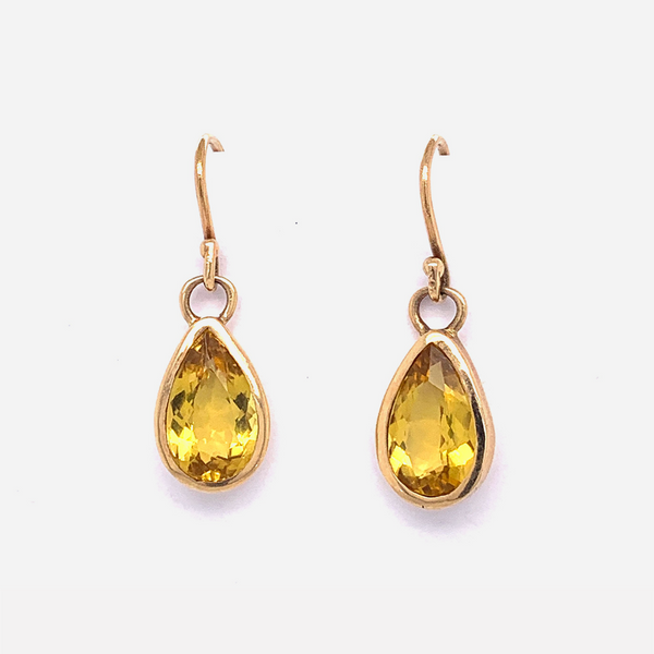 Pear Drop Earrings / Citrine by vendor - earrings - Fine Jewelry Studio in Williamsburg, Brooklyn, NYC