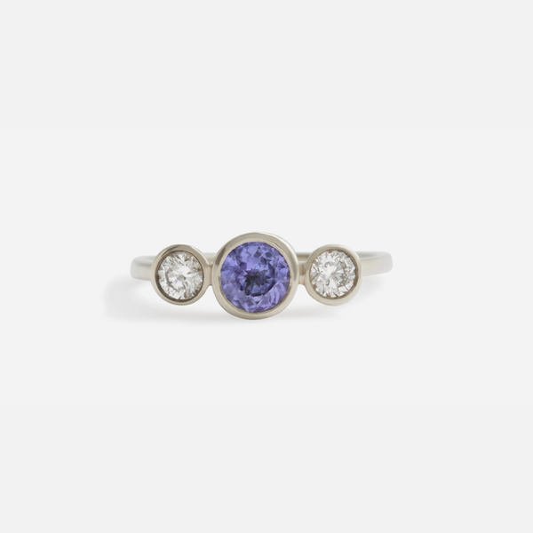 Pave 3 Stones / Tanzanite + Diamonds