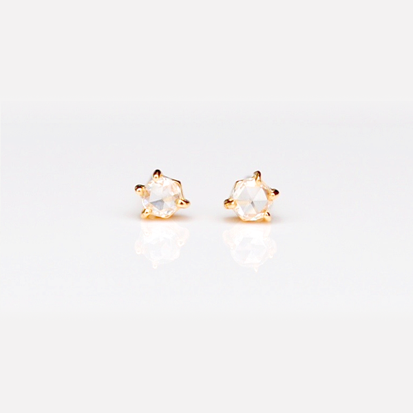 Rose Studs / White Diamonds by vendor - earrings - Fine Jewelry Studio in Williamsburg, Brooklyn, NYC