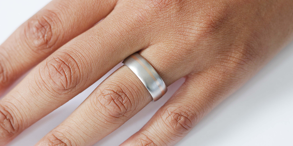 Wide Dome Band / 2-Tone by vendor - WEDDING - Fine Jewelry Studio in Williamsburg, Brooklyn, NYC