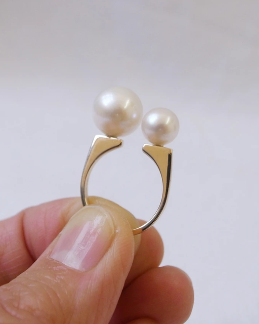 Double Pearl Ring by vendor - rings - Fine Jewelry Studio in Williamsburg, Brooklyn, NYC
