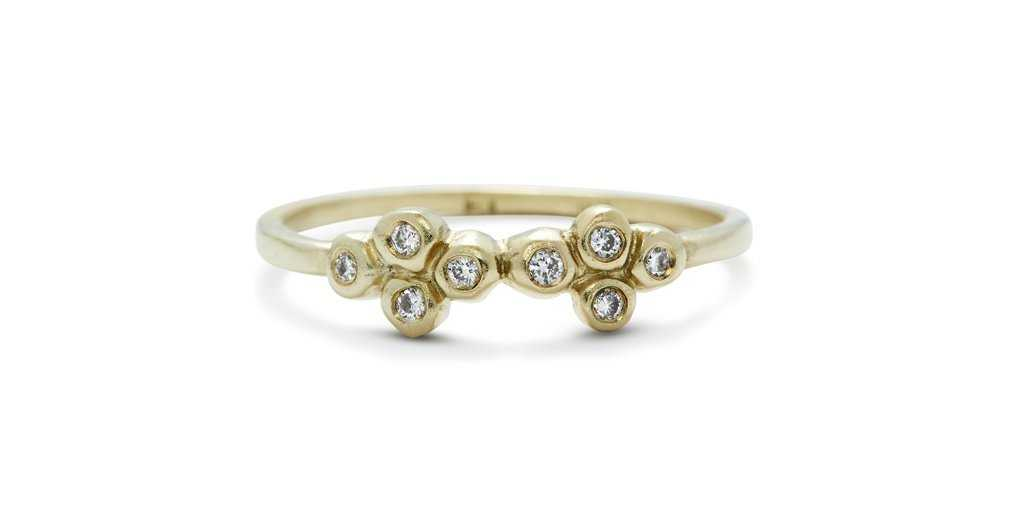 Bubble Ring 15 / White Diamonds - Bubble - <meta char - Fitzgerald Jewelry - Handmade in Williamsburg, Brooklyn, NYC