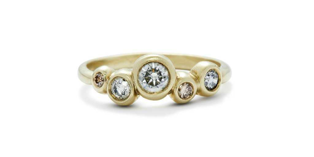 Bubble Ring 1 / Gray + Brown Diamonds - Fitzgerald Jewelry