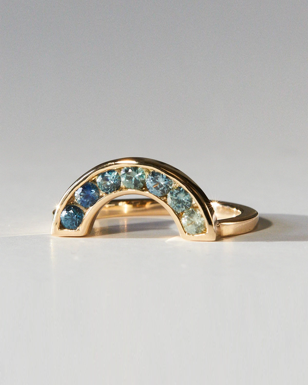Rainbow Ring / Ombre Sapphires by vendor - rings - Fine Jewelry Studio in Williamsburg, Brooklyn, NYC