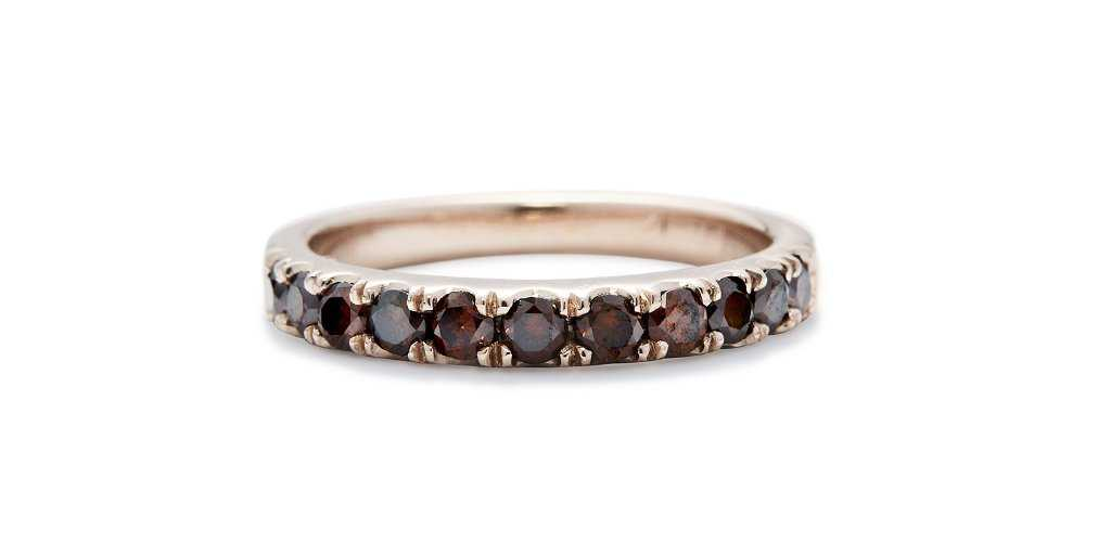 Medium Orbit Band with Red Pave Diamonds - Fitzgerald Jewelry