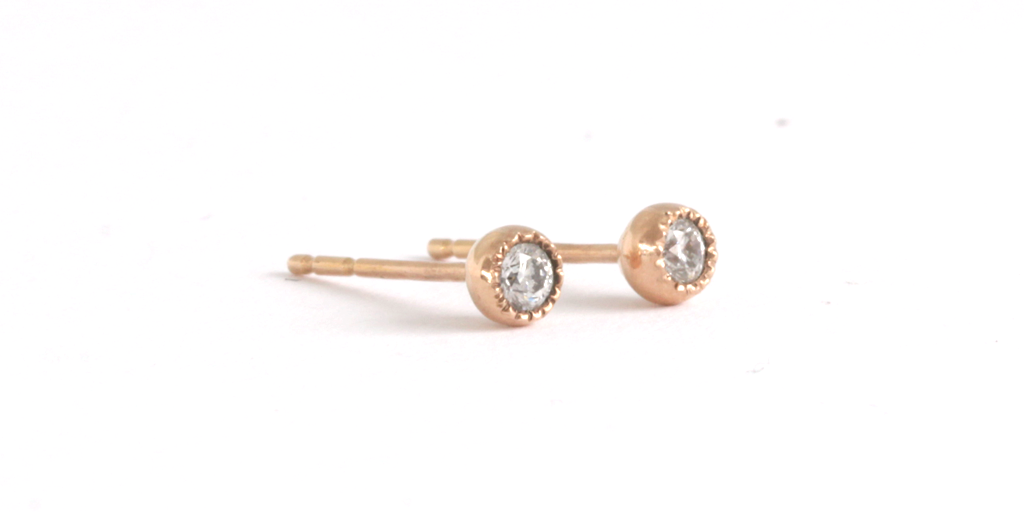 Melee Ball Studs / White Diamonds - MELEE - <meta char - Fitzgerald Jewelry - Handmade in Williamsburg, Brooklyn, NYC